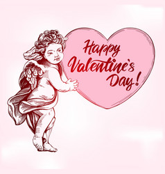 angel or cupid little baholds a heart vector image