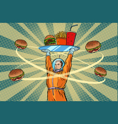 Astronaut with a tray of fast food vector