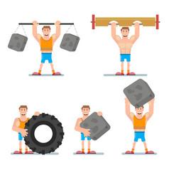 Athlete strong man vector