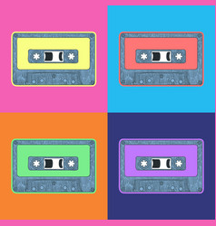 Audio tape pop art style andy warhol style vector