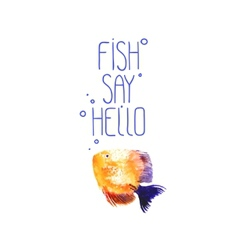 Background with watercolor discus fish vector