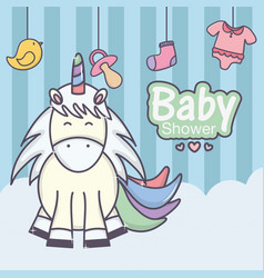 Bashower cute unicorn pacifier sock duck vector