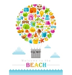 Beach sea summer concept design with travel vector