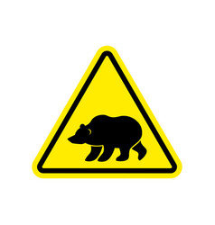 Bear warning sign yellow predator hazard vector