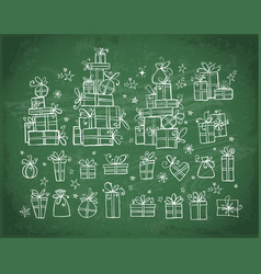big collection doodle gift boxes hand drawn vector image