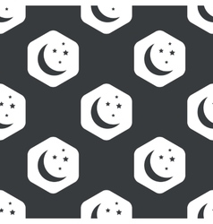 Black hexagon night pattern vector