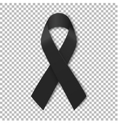 Black mourning ribbon on transparent background vector