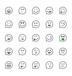 black thin line emoji speech bubble set vector image
