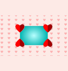 blue square frame on a red heart shaped vector image