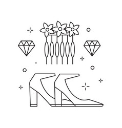 Bridal heeled shoes icon in line art vector