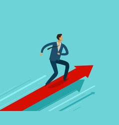 Businessman running on growth graph success vector