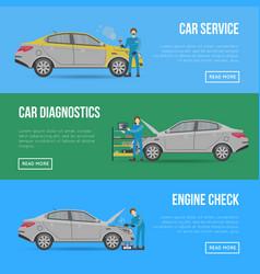 Car diagnostics and repair services flyers vector