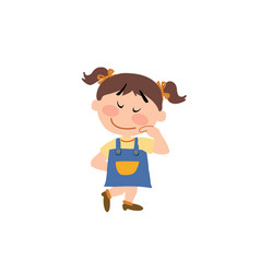 Cartoon character of a shy girl vector