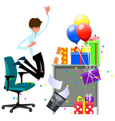 cartoon happy man celebrating office christmas vector image