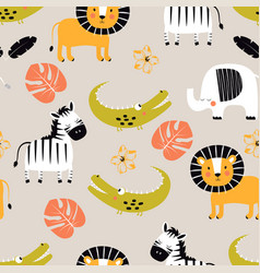cartoon tropical animal pattern vector image