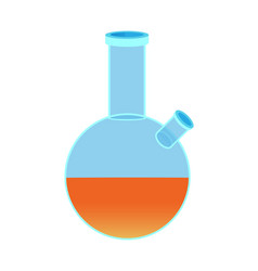 chemical flask with two holes orange liquid vector image
