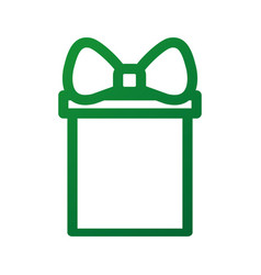 christmas gift box ornament with bow ribbon vector image