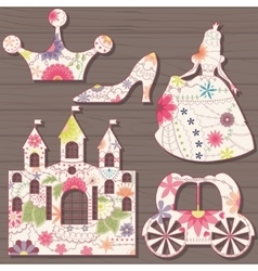 Cinderella decorations vintage on wooden vector