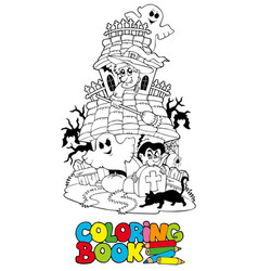 Coloring book with haunted house vector