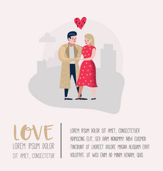couple in love characters for poster banner vector image