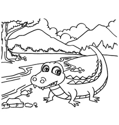 Crocodile coloring pages vector image