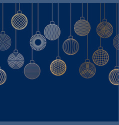 Decorative border made of golden christmas ball vector