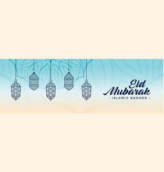 Decorative eid festival lamps banner design vector