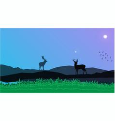 Deers in mountain view vector