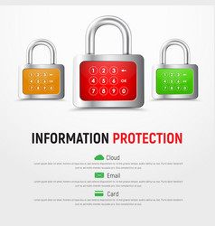 design a square white web banner with padlocks vector image