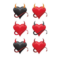 Devil hearts with sharp horns and a tail set 3d vector