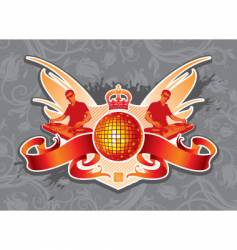 disco emblem vector image vector image
