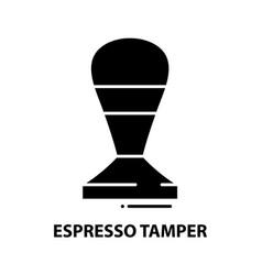 Espresso tamper icon black sign with vector