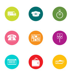 fast ride icons set flat style vector image