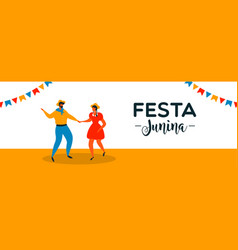 festa junina banner happy couple dancing vector image