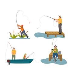 Fishery rod in men hand set vector