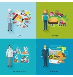 Flat Profession Set vector image