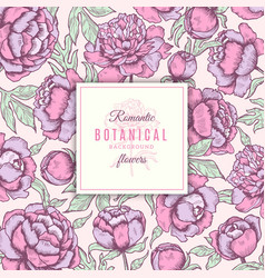 floral background botanical frames peonies vector image