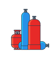 Gas tanks set various gas tanks in flat line vector