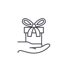 gift in hand line icon concept gift in hand vector image