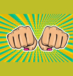 Girl woman power fist pop art style vector