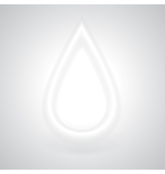 Glowing White Drop with Shadow vector image