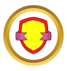 Gold shield with violet ribbon icon vector