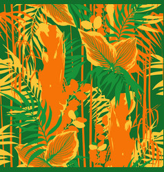graphic seamless pattern exotic leaves and vector image