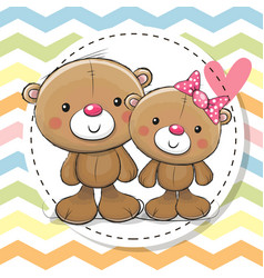 Greeting card with two cute teddy bears vector