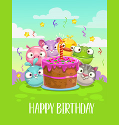 Happy birthday greeting card birthday vector