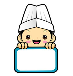 happy chef character is holding a board isolated vector image