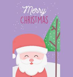 happy santa tree snow merry christmas card vector image