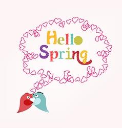 Hello Spring with heart bubble vector