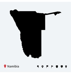 High detailed map of namibia with navigation pins vector