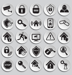 Home security set on plates background vector